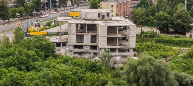 Снос здания взрывом в Харькове 15 июля 2017